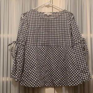 Black and white flutter top gingham